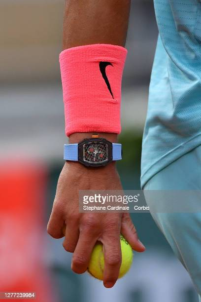 Detail of Richard Mille watch of Rafael Nadal of Spain during his Men's Singles first round match against Egor Gerasimov of Belarus on day two of the...