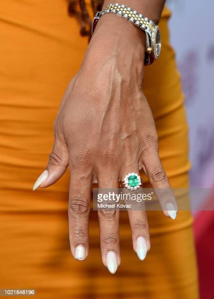 Detail of ring worn by Trista Pisani at the Los Angeles Premiere of Support The Girls on August 22, 2018 in Los Angeles, California.
