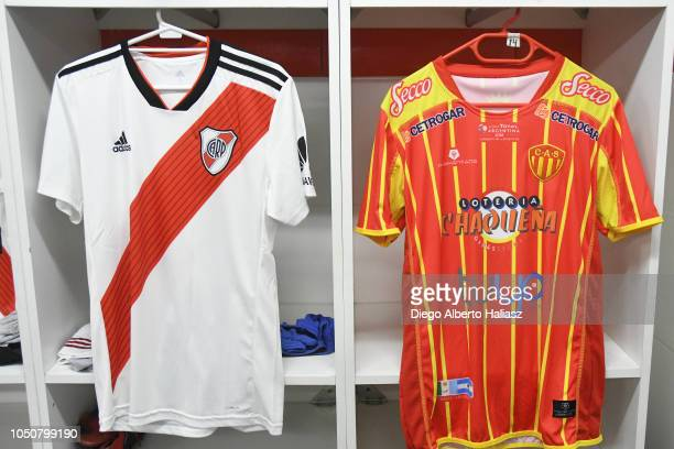 Detail of River Plate and Sarmiento de Chaco jerseys in the dressing room before a quarterfinals match between River Plate and Sarmiento as part of...