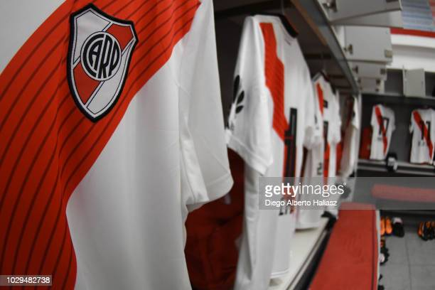 Detail of River Plate jersey in the visitor's dressing room before a match between San Lorenzo and River Plate as part of Superliga Argentina 2018/19...