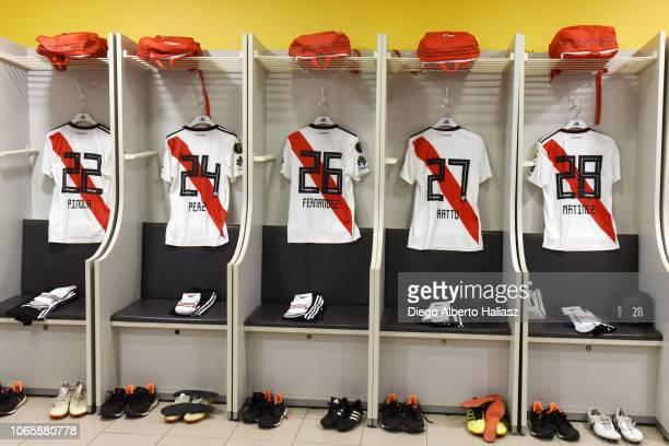 Detail of River Plate jerseys in the away dressing room before the first leg match between Boca Juniors and River Plate as part of the Finals of Copa...