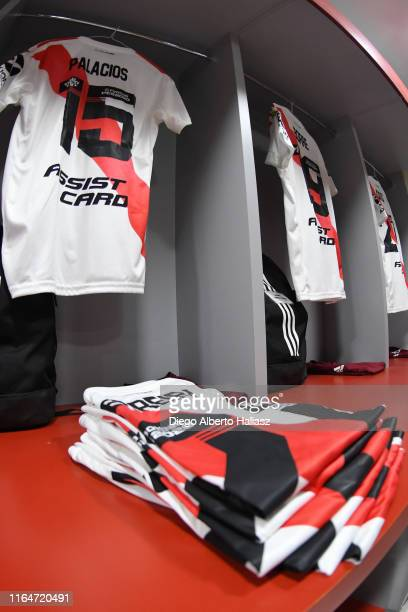 Detail of River Plate jerseys in the dressing room before a match between Cerro Porteño and River Plate as part of Quarter Finals of Copa CONMEBOL...