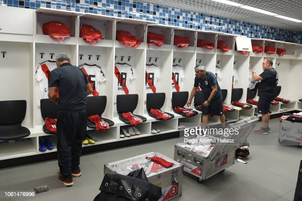 Detail of River Plate jerseys in the dressing room before a semifinal match between Gremio and River Plate as part of Copa CONMEBOL Libertadores 2018...