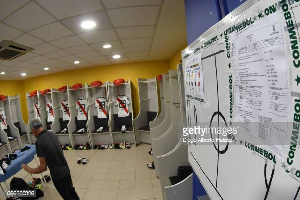 Detail of River Plate jerseys in the dressing room before the first leg match between Boca Juniors and River Plate as part of the Finals of Copa...