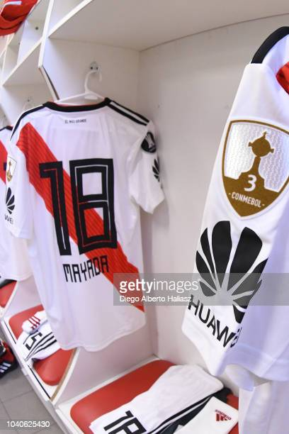 Detail of River Plate's jersey in the visitor's dressing room before a Quarter Final first leg match between Independiente and River Plate at...