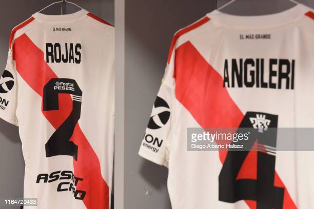 Detail of Robert Rojas and Fabrizio Angileri of River Plate jerseys in the dressing room before a match between Cerro Porteño and River Plate as part...