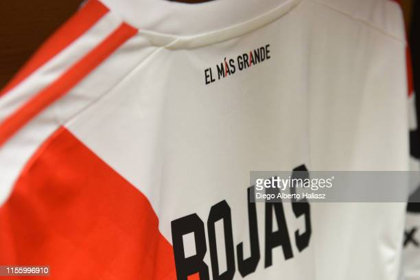 Detail of Robert Rojas of River Plate jersey in the dressing room before a round of 32 match between River Plate and Gimnasia Y Esgrima as part of...