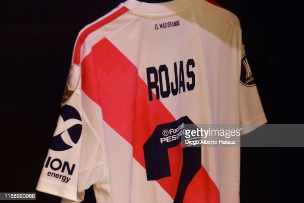 Detail of Robert Rojas of River Plate jersey in the dressing room before a round of sixteen second leg match between Cruzeiro and River Plate as part...