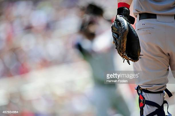 A detail of Roberto Perez of the Cleveland Indians glove as he catches the game against the Minnesota Twins on July 23 2014 at Target Field in...
