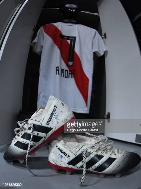 Detail of Rodirgo Mora's jersey and boots in River Plate's dressing room prior to the second leg final match of Copa CONMEBOL Libertadores 2018...
