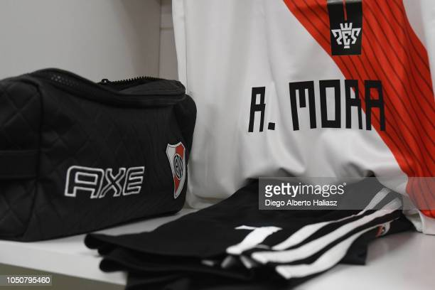 Detail of Rodrigo Mora of River Plate jersey in the dressing room before a quarterfinals match between River Plate and Sarmiento as part of the Copa...