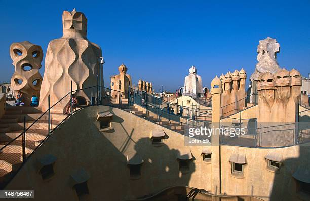 Detail of roof and chimneys at Gaudi's La Pedrera, Casa Mila.