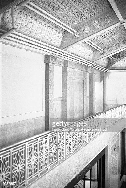 Detail of Rookery Building lobby ceiling and baloncy with Frank Lloyd Wright's 1905 alterations, Chicago, Illinois, undated.