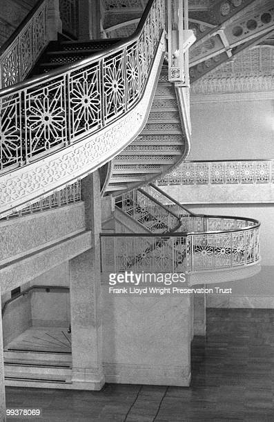 Detail of Rookery Building lobby staircase with Frank Lloyd Wright's 1905 alterations, Chicago, Illinois, undated.