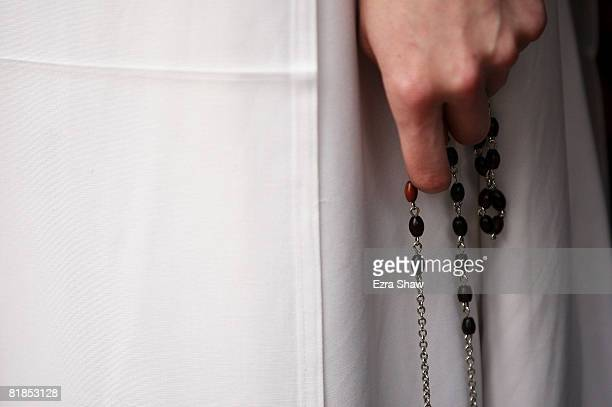 A detail of rosary beads held by an American nun who was among a group of nuns who descended upon Hyde Park ahead of World Youth Day Sydney 2008 on...