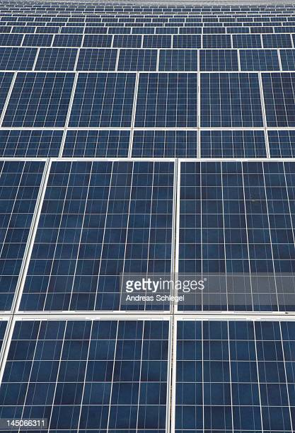 Detail of rows of solar panels