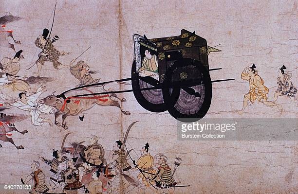 Detail of Royalty Being Moved Swiftly in His Carriage from a Scroll Painting of The Burning of the Sanjo Palace