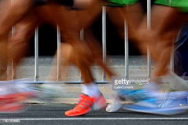 Detail of runners during the men's 50km race walk during the 2011 XVI Pan American Games at Telmex Athletics Stadium on October 29 2011 in...