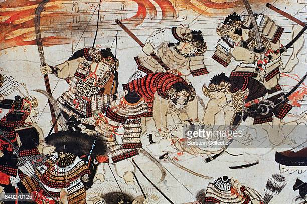 Detail of Samurai Beheading an Enemy from a Scroll Painting of The Burning of the Sanjo Palace