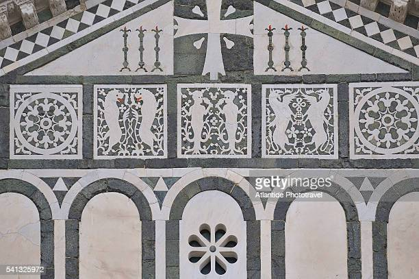 detail of san miniato church facade - san miniato stock pictures, royalty-free photos & images