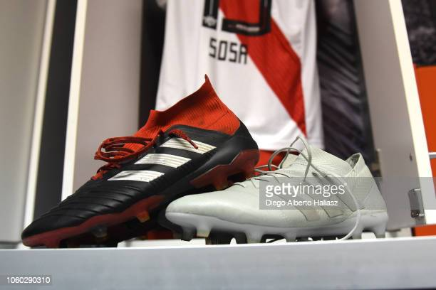 Detail of Santiago Sosa of River Plate shoes in the dressing room before a match between River Plate and Aldosivi as part of Superliga 2018/19 at...