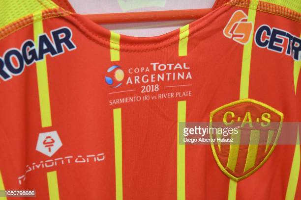 Detail of Sarmiento de Chaco jersey in the dressing room before a quarterfinals match between River Plate and Sarmiento as part of the Copa Argentina...
