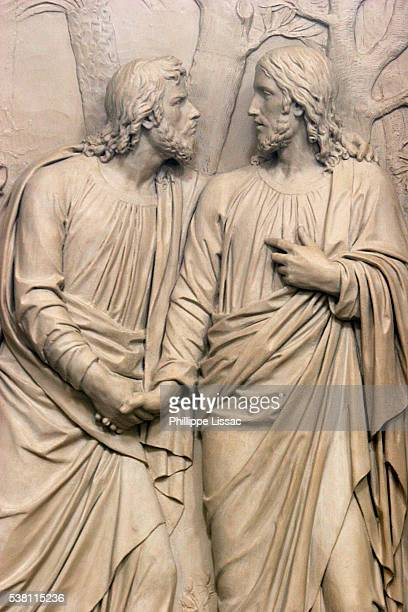 detail of sculpture at saint roch church - judas iscariot stock pictures, royalty-free photos & images