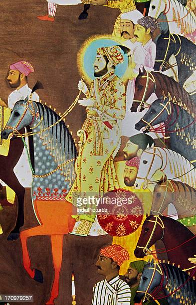 Detail of Shah Jahan from the miniature painting of the wedding of Dara Shikoh Awadh National Museum New Delhi India