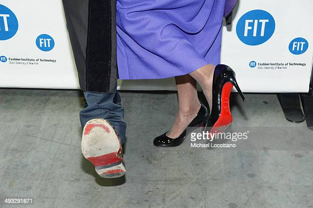 Detail of shoe designer Christian Louboutin and President of FIT Dr Joyce Brown's shoes during the Fashion Institute of Technology's 69th...
