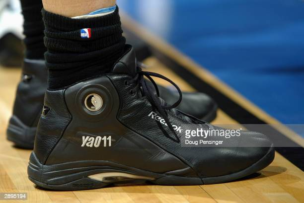 Detail of shoes belonging to Yao Ming of the Houston Rockets during the game against the Washington Wizards at MCI Center on January 13, 2004 in...