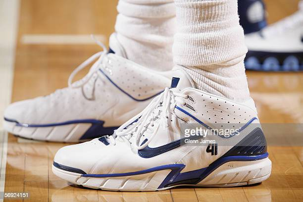 Detail of shoes worn by Dirk Nowitzki of the Dallas Mavericks during the game against the Utah Jazz at American Airlines Arena on January 28 2006 in...