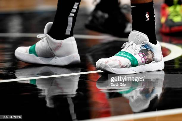 A detail of shoes worn by Spencer Dinwiddie of the Brooklyn Nets honoring former Brooklyn Dodger Jackie Robinson during the first quarter of the game...