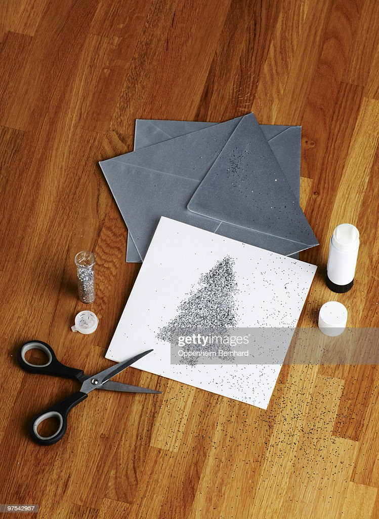 Detail Of Silver Christmas Card Making Kit Stock Photo | Getty Images