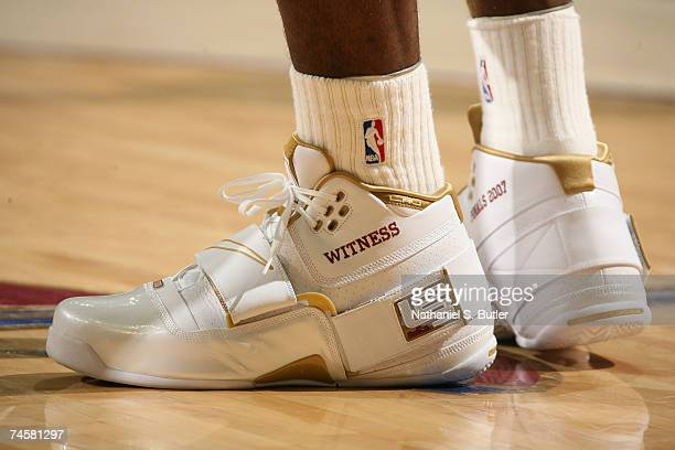 Detail of sneakers worn by LeBron James of the Cleveland Cavaliers against the San Antonio Spurs in Game Three of the NBA Finals at the Quicken Loans...