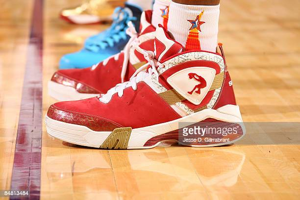 A detail of sneakers worn by Shaquille O'Neal of the Western Conference during the 58th NBA AllStar Game part of 2009 NBA AllStar Weekend at US...