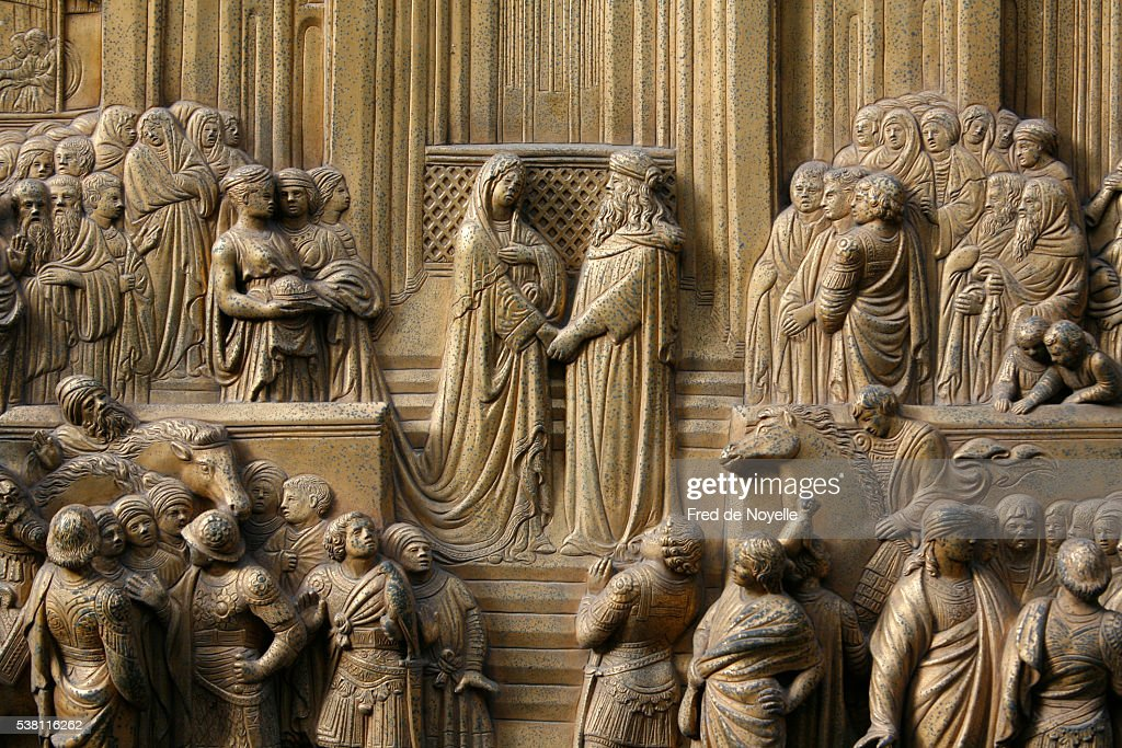 Detail of Solomon Greeting the Queen of Sheba in Jerusalem from the Gates of Paradise by Lorenzo Ghiberti : Stock Photo