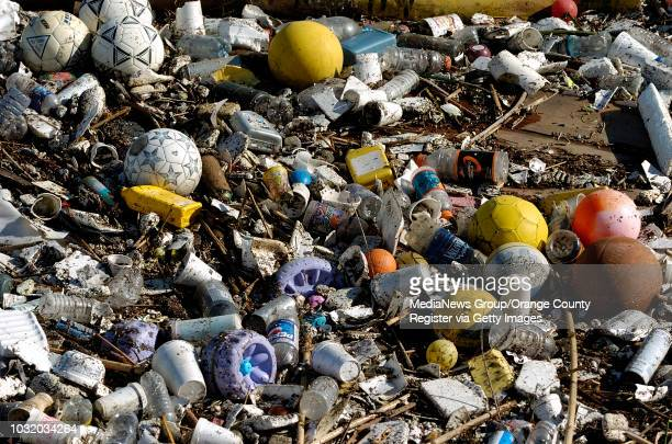 Detail of some of the trash collected in the boom just north of the Queensway Bay Bridge in the Los Angeles River on January 4 in Long Beach, Calif....