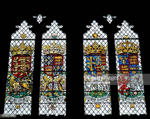 Detail of stained glass in the Great Hall of Eltham Palace Greenwich London c2000s Coats of arms of Kings Edward I and III Richard II and Henry VIII...