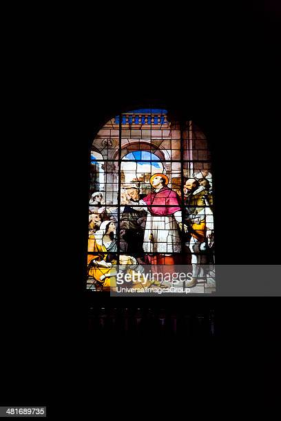Detail of stained glass window of the Duomo Di Milano Milan Lombardy Italy
