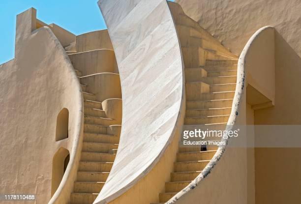 Detail of stairs at Jantar Mantar Observatory, Jaipur, Rajasthan, India.