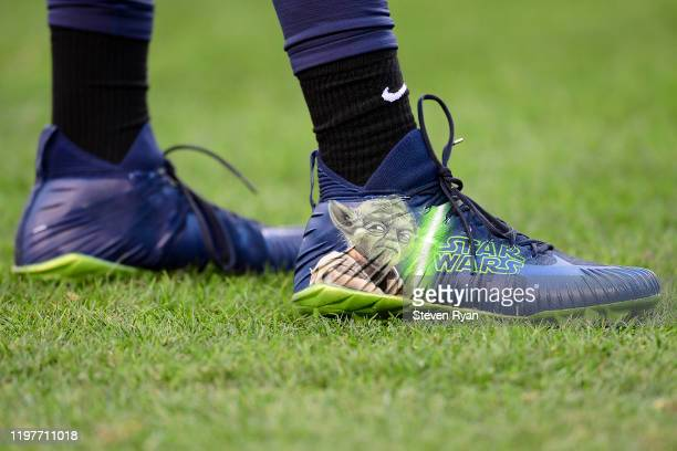Detail of Star Wars themed cleats worn by Ezekiel Ansah of the Seattle Seahawks prior to the NFC Wild Card Playoff game against the Philadelphia...