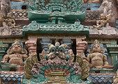 Detail of statues on Sarangapani temple Gopuram.
