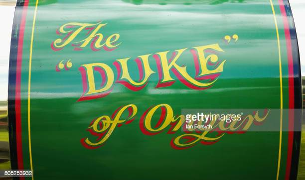 Detail of steam engine artwork during the Duncombe Park Steam Rally on July 1 2017 in Helmsley United Kingdom Held annually in the picturesque...
