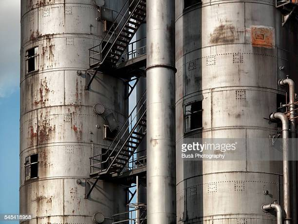 detail of steel silos of the hansa coking plant (kokerei hansa), dortmund, germany. the silos have been demolished in 2012. - コークス ストックフォトと画像