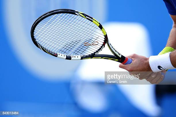 Detail of Steve Johnson's tennis racquet during his men's singles final match against Pablo Cuevas of Uruguay during day six of the ATP Aegon Open...