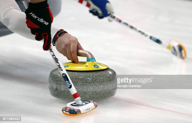 Detail of stone being delivered by the United States in the Men's Round Robin Session 11 on day eleven of the PyeongChang 2018 Winter Olympic Games...