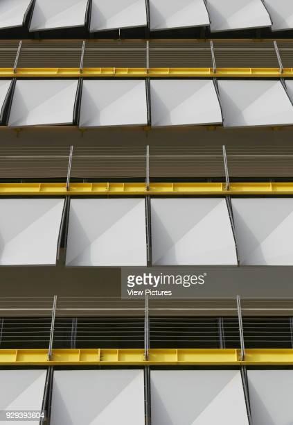 Detail of sun shading system. Siemens Masdar, Abu Dhabi, United Arab Emirates. Architect: Sheppard Robson, 2014.
