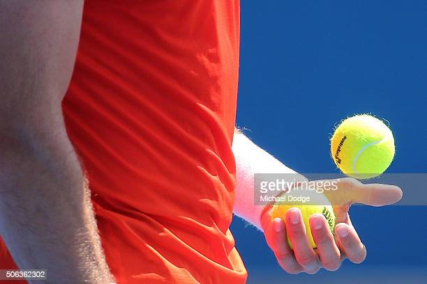 Detail of tennis balls before a serve by Steve Johnson of the United States in his third round match against David Ferrer of Spain during day six of...