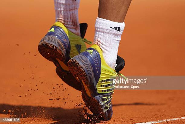 Detail of tennis shoes worn by Fernando Verdasco of Spain during his match against Novak Djokovic of Serbia during day six of the ATP Masters Series...