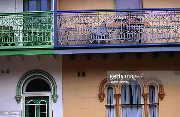 detail of terrace houses in newcastle east. - newcastle new south wales stock pictures, royalty-free photos & images